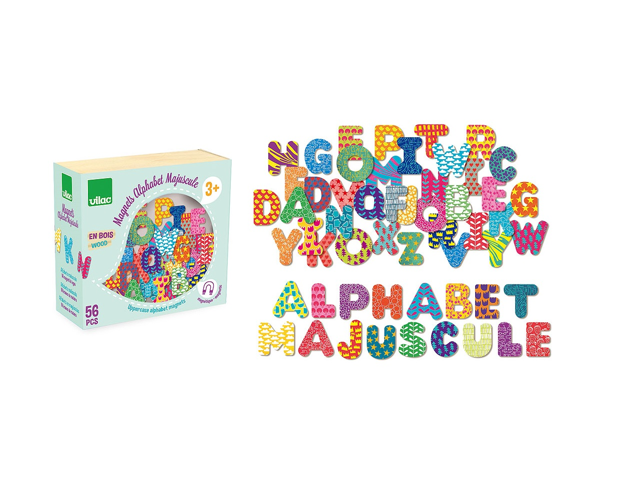 Vilac Dřevěné magnetky abeceda 56ks