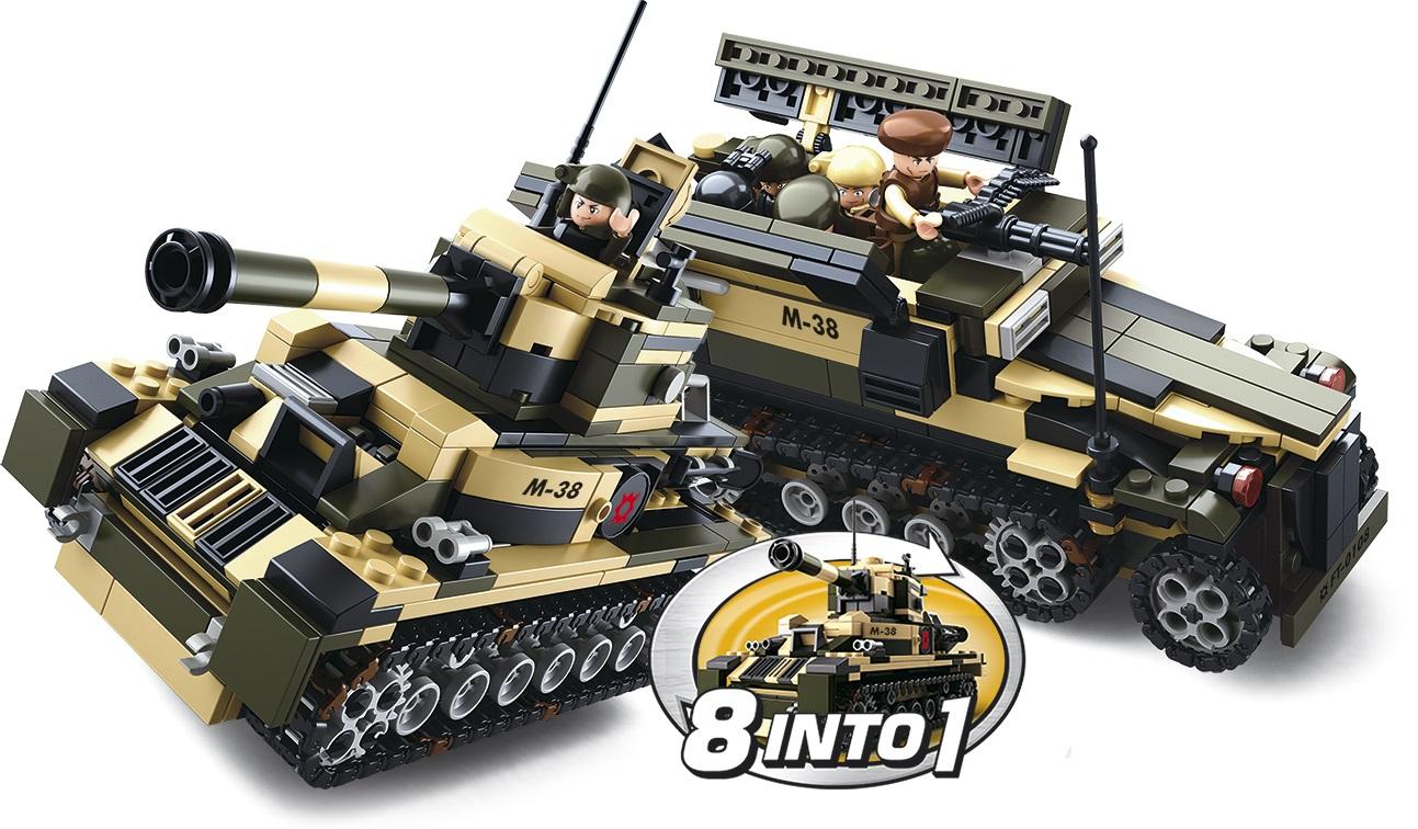 Sluban Army 8into1 M38-B0587 Tank nebo obrněný transportér 8v1