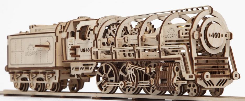 Ugears 3D dřevěné mechanické puzzle Parní lokomotiva 4-6-0 s tendrem
