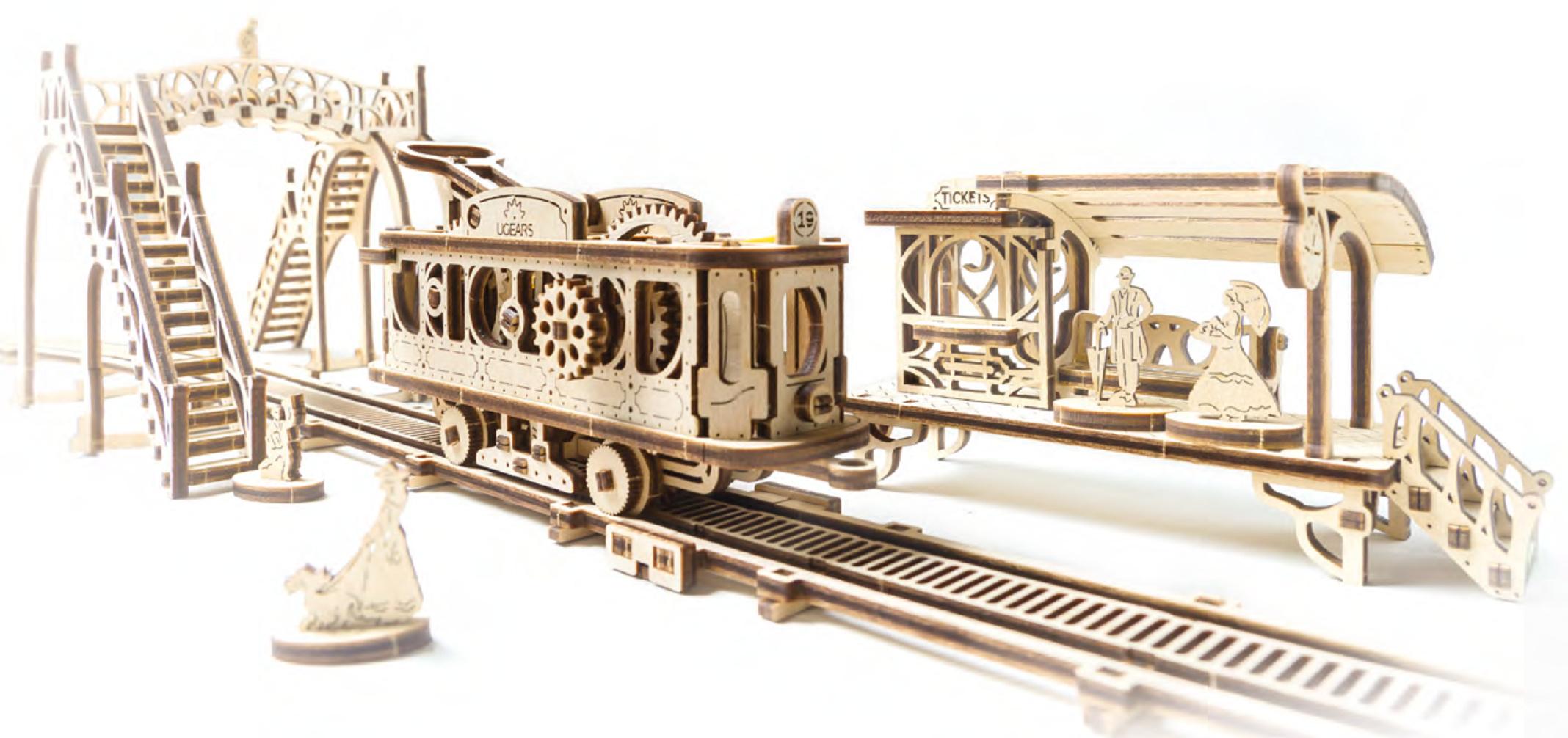 Ugears 3D dřevěné mechanické puzzle Mechanical Town tramvajová linka