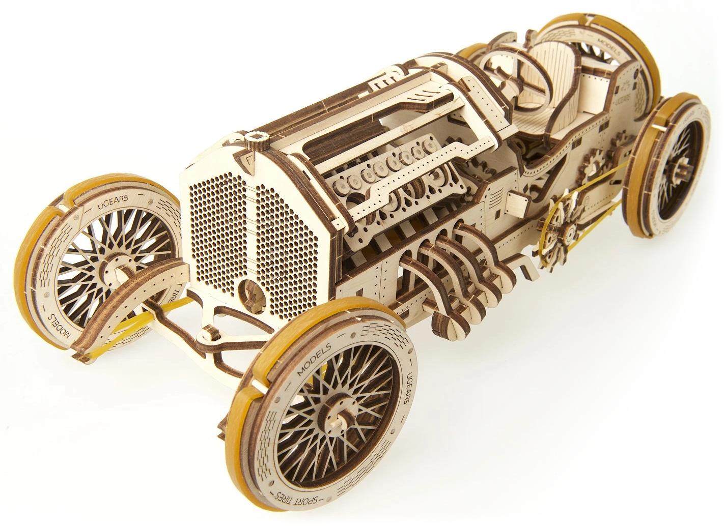 Ugears 3D dřevěné mechanické puzzle U9 Auto (Grand Prix)