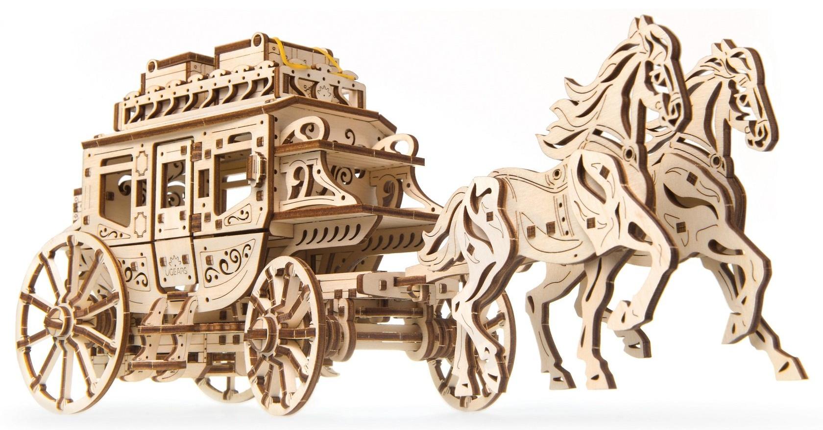 Ugears 3D dřevěné mechanické puzzle Dostavník