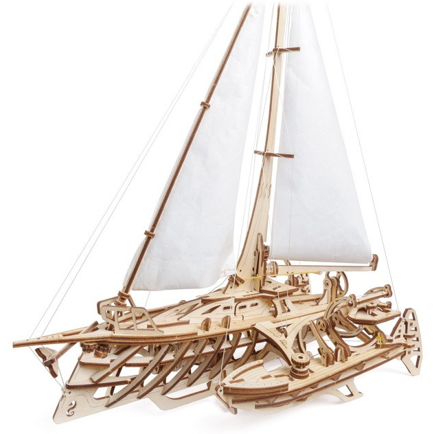 Ugears 3D dřevěné mechanické puzzle Plachetnice Merihobus (trimarán)