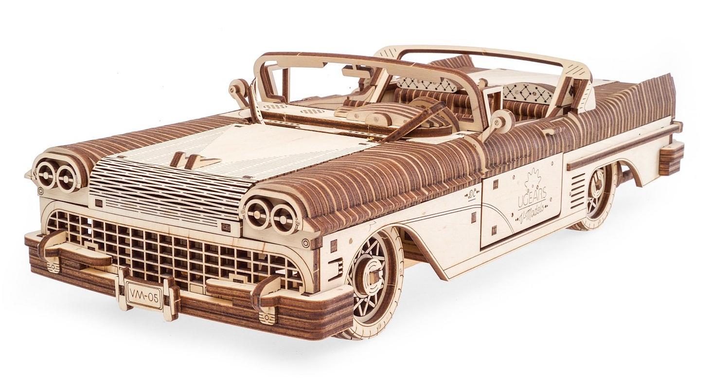 Ugears 3D dřevěné mechanické puzzle VM-05 Auto (50's convertible)
