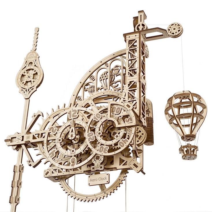 Ugears 3D dřevěné mechanické puzzle Nástěnné hodiny Aero
