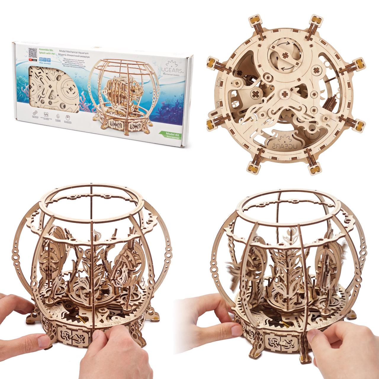 Ugears 3D dřevěné mechanické puzzle Mechanické akvárium
