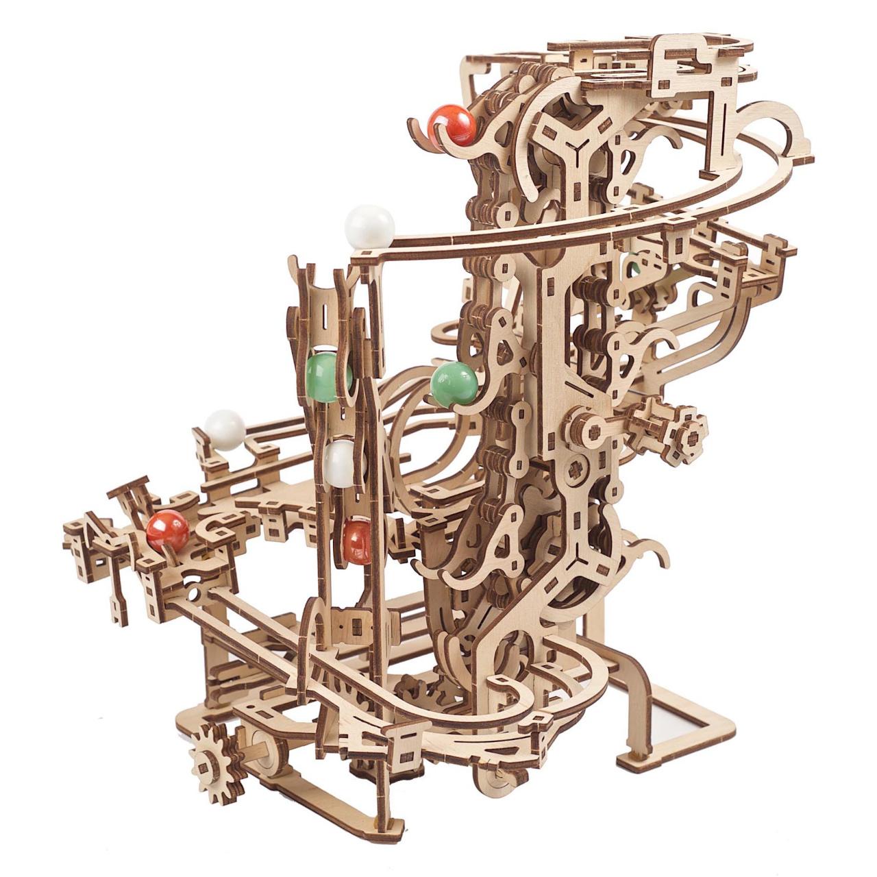 Ugears 3D dřevěné mechanické puzzle Kuličková dráha řetězová