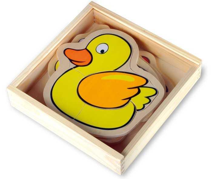 Small Foot Dřevěné puzzle v krabičce farma