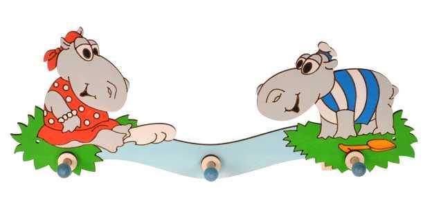 DoDo Dřevěný 3 věšáček hroši