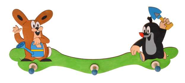 DoDo Dřevěný 3 věšáček Krtek a zajíc na zahradě