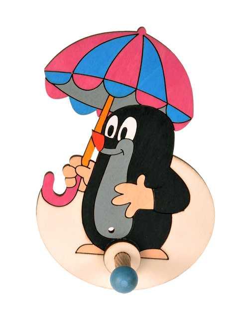 Dřevěný 1 věšáček - Krteček s deštníkem