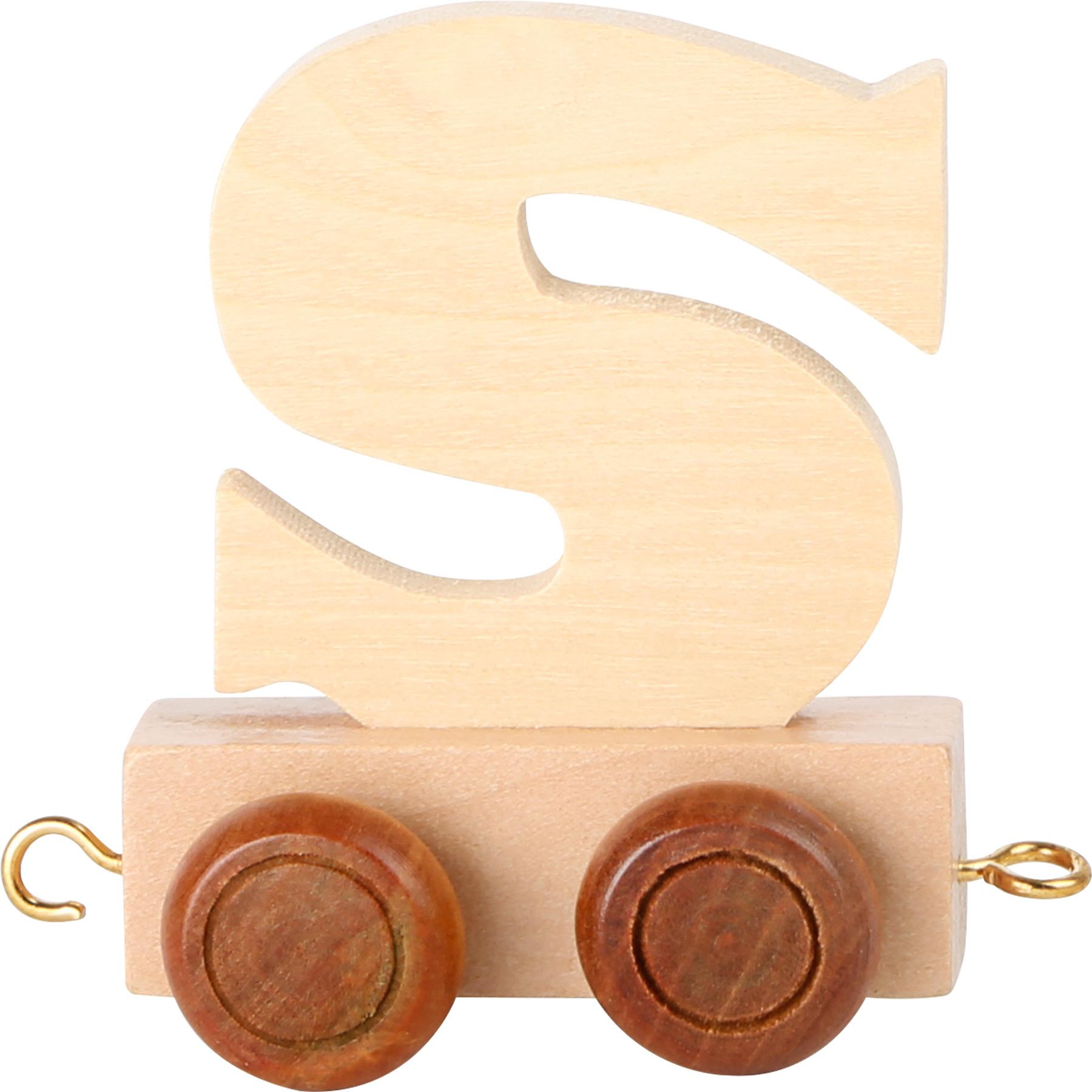 Dřevěný vláček vláčkodráhy abeceda písmeno S