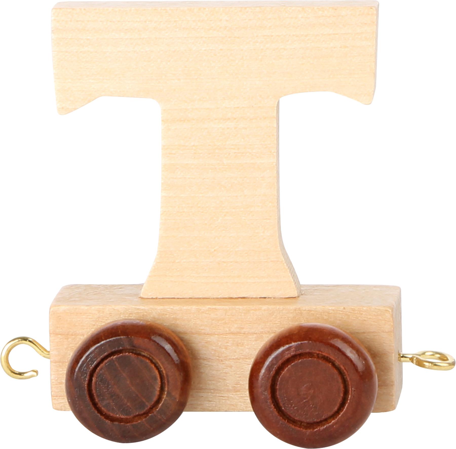 Dřevěný vláček vláčkodráhy abeceda písmeno T