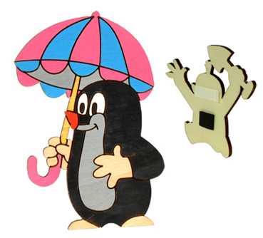 DoDo Dřevěná dekorační magnetka Krtek s deštníkem
