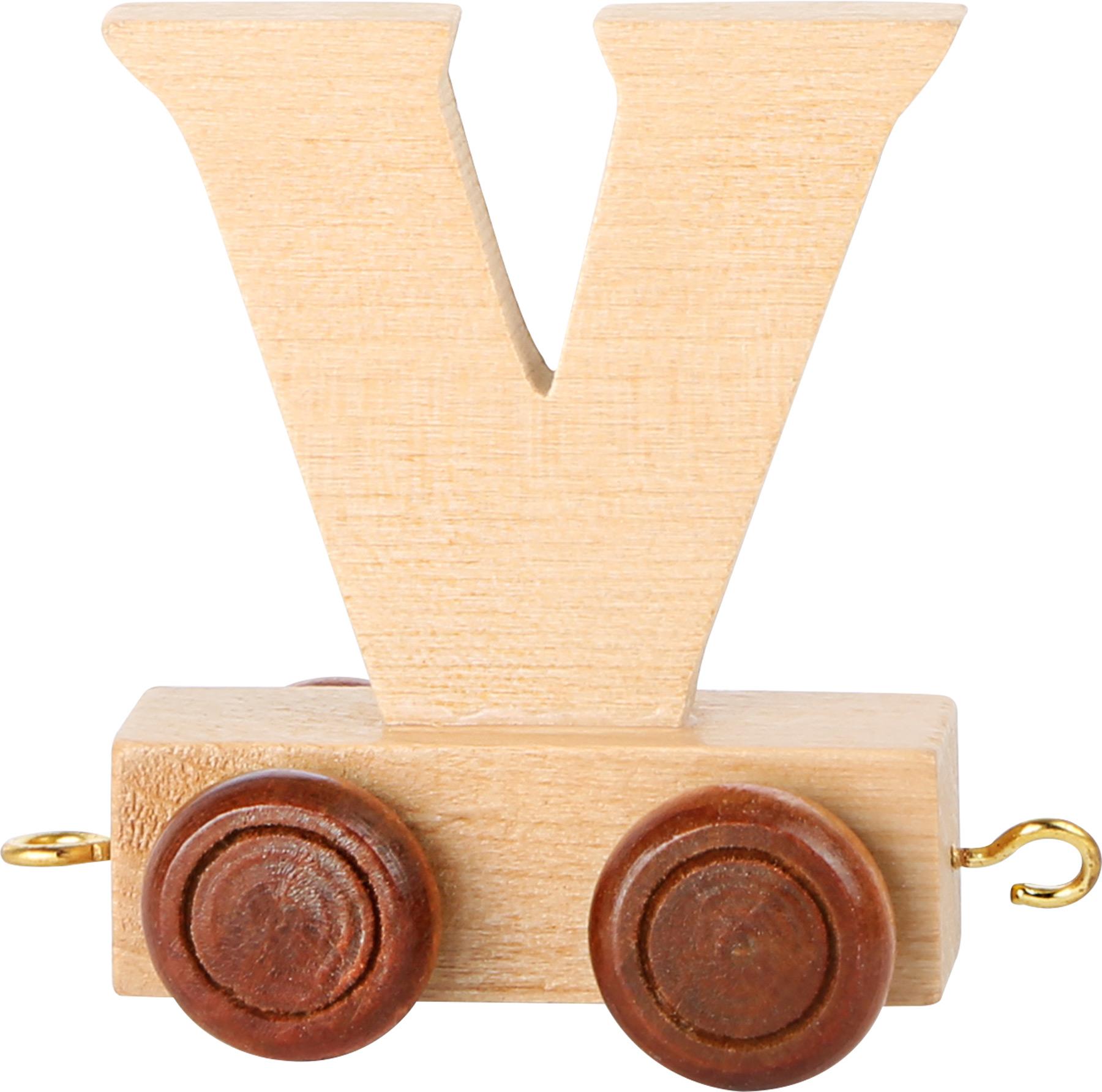 Dřevěný vláček vláčkodráhy abeceda písmeno V