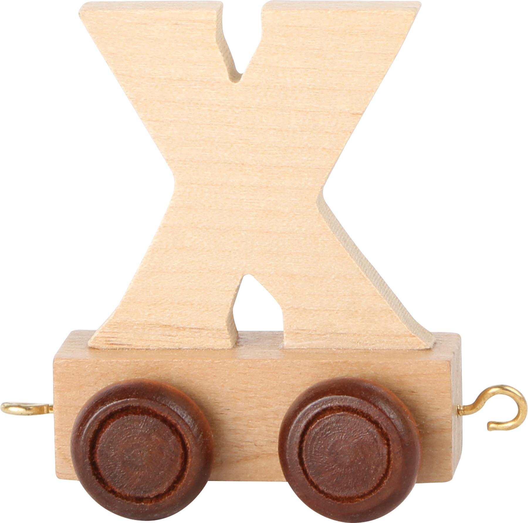 Dřevěný vláček vláčkodráhy abeceda písmeno X