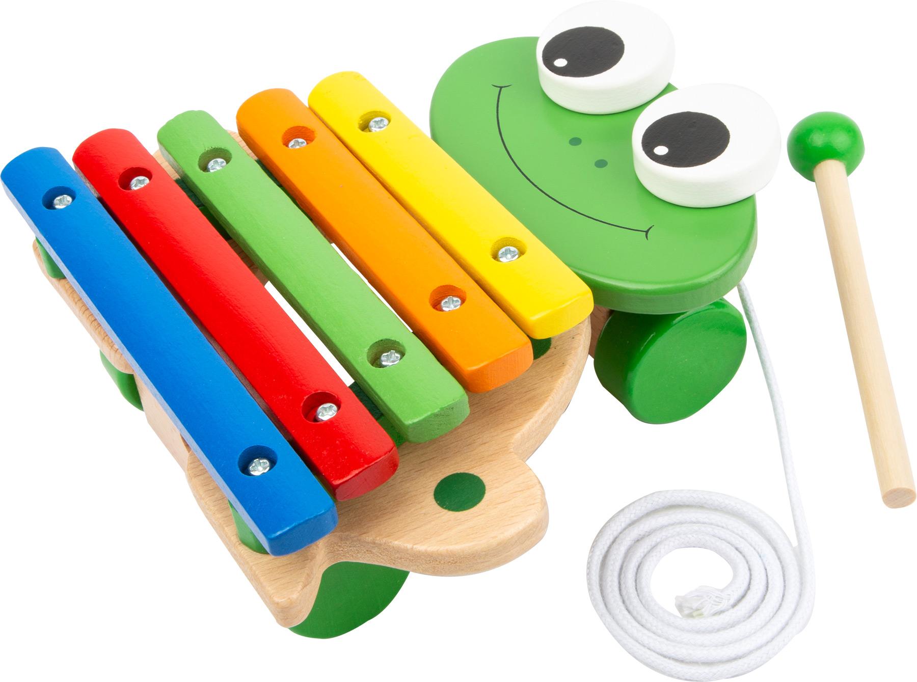 Fotografie Small Foot Dětské dřevěné hudební nástroje Tahací Xylofon žába
