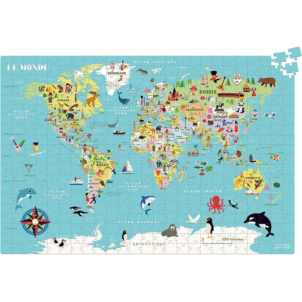 Vilac Puzzle Mapa světa 500 dílků