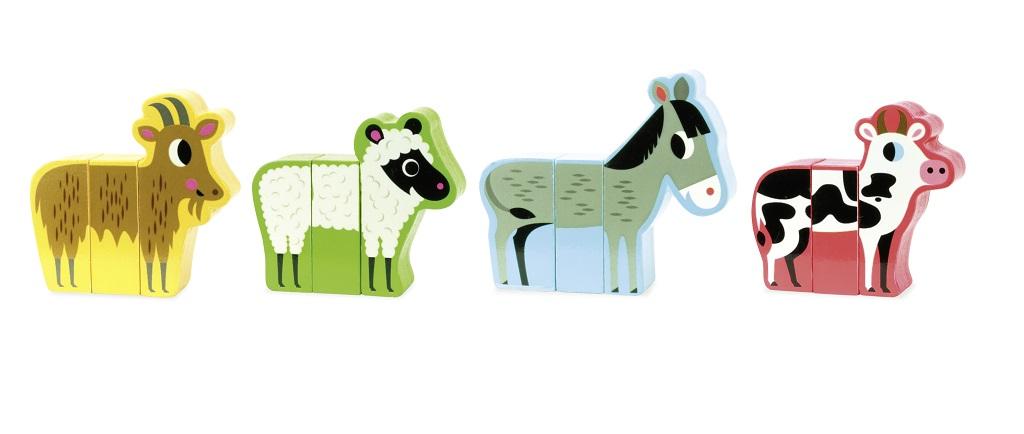 Dřevěná hračka Vilac - Dřevěné puzzle - Veselá farma