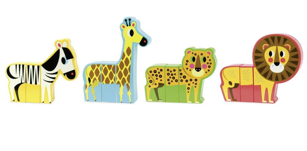 Dřevěná hračka Vilac - Dřevěné puzzle - Veselé safari