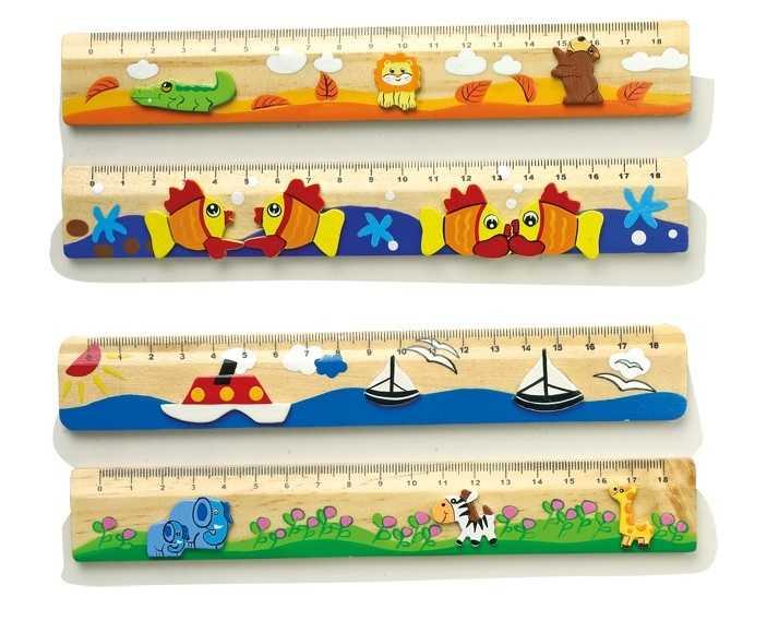 Dřevěné hračky - Školní pomůcky - Dřevěné pravítko 1 ks