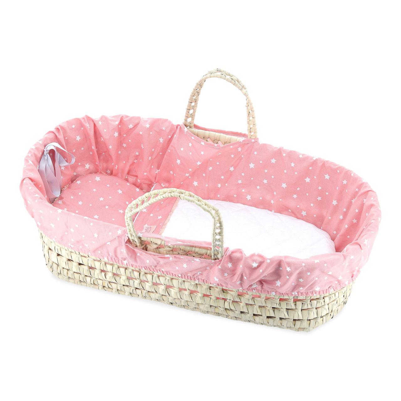 Petitcollin Přenosná taška proutěná, plátnem vykládaná, růžová (pro panenku do 50 cm)
