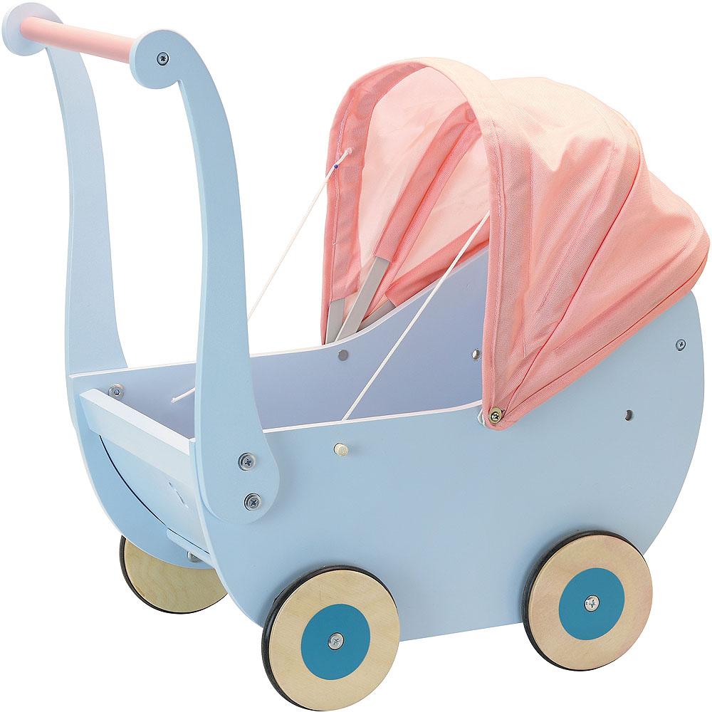 Petitcollin Dřevěný kočárek pro panenky modrý