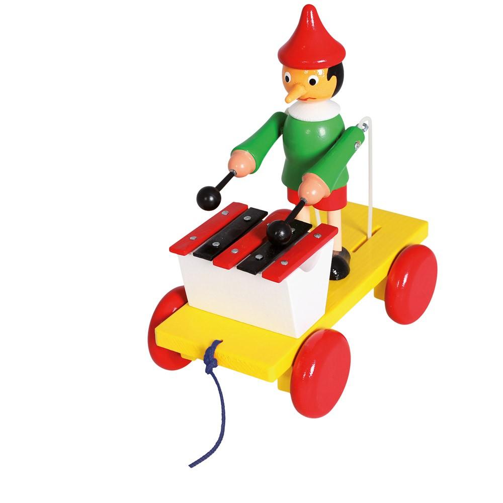 Dřevěné hračky - Tahací Pinocchio s xylofonem