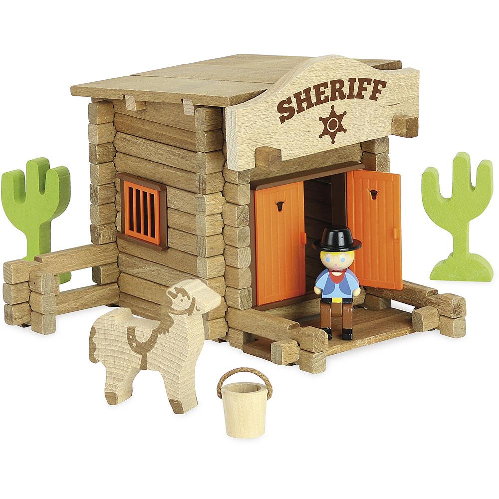 Jeujura Dřevěná stavebnice 80 dílků Sheriffská stanice