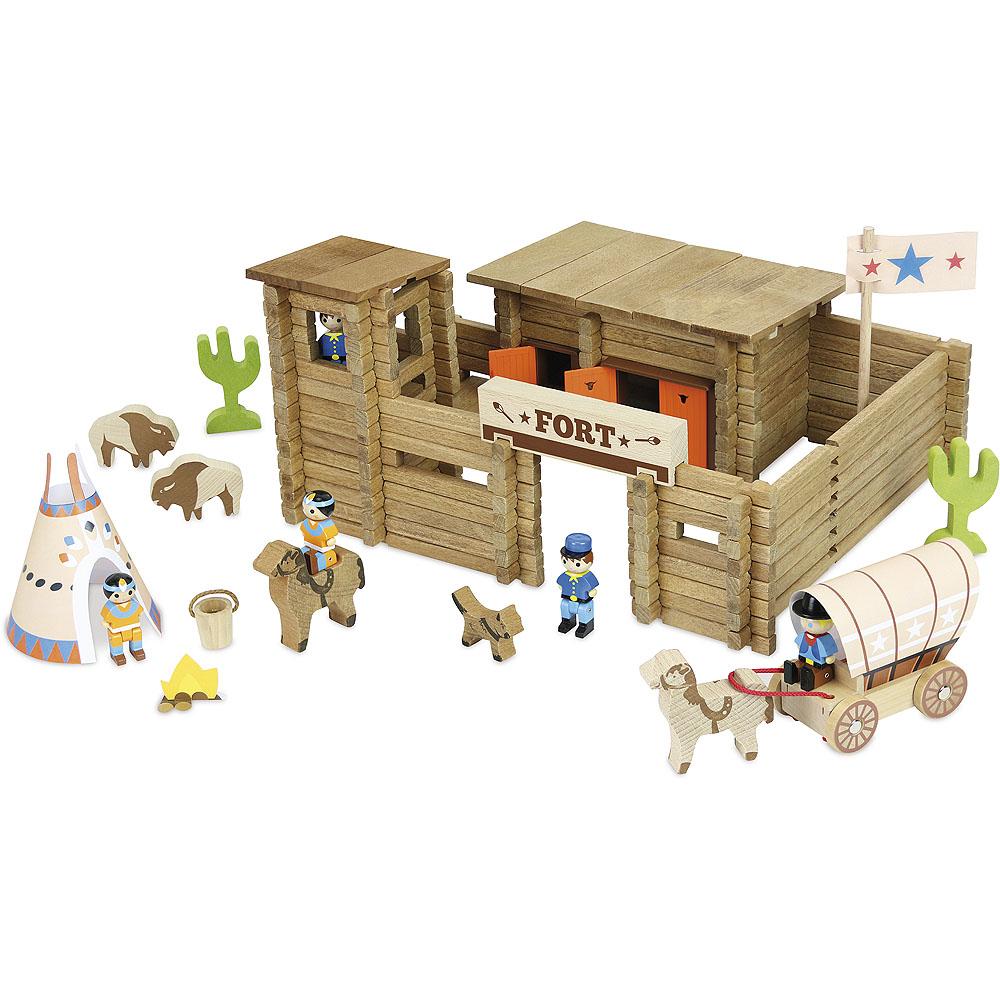 Jeujura Dřevěná stavebnice 200 dílků pevnost a indiáni