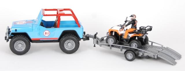 Bruder Závodní Jeep se čtyřkolkou a figurkou