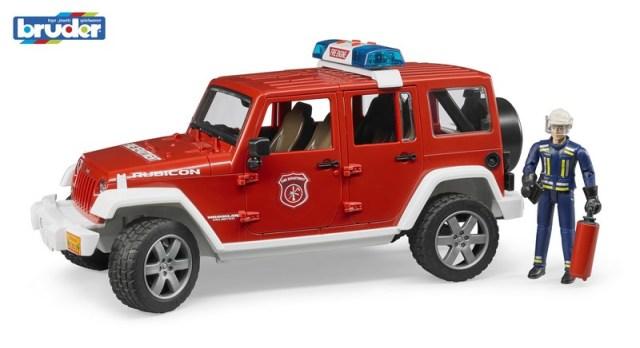 Bruder Červený požární vůž JEEP WRANGLER s panáčkem