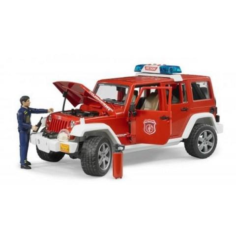 Bruder - Červený požární vůž JEEP WRANGLER s panáčkem