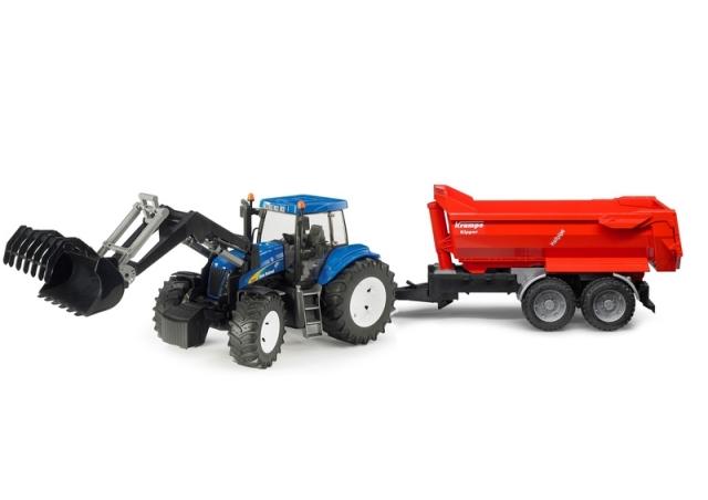 Bruder Traktor New Holland T8040 s nakladačem a valníkem Krampe