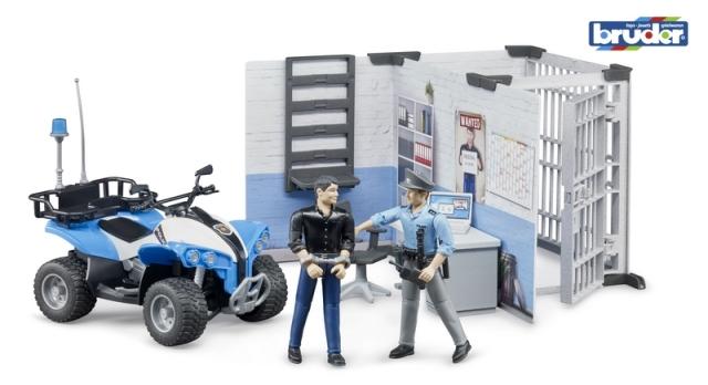 Bruder Policejní stanice s figurkami a čtyřkolkou