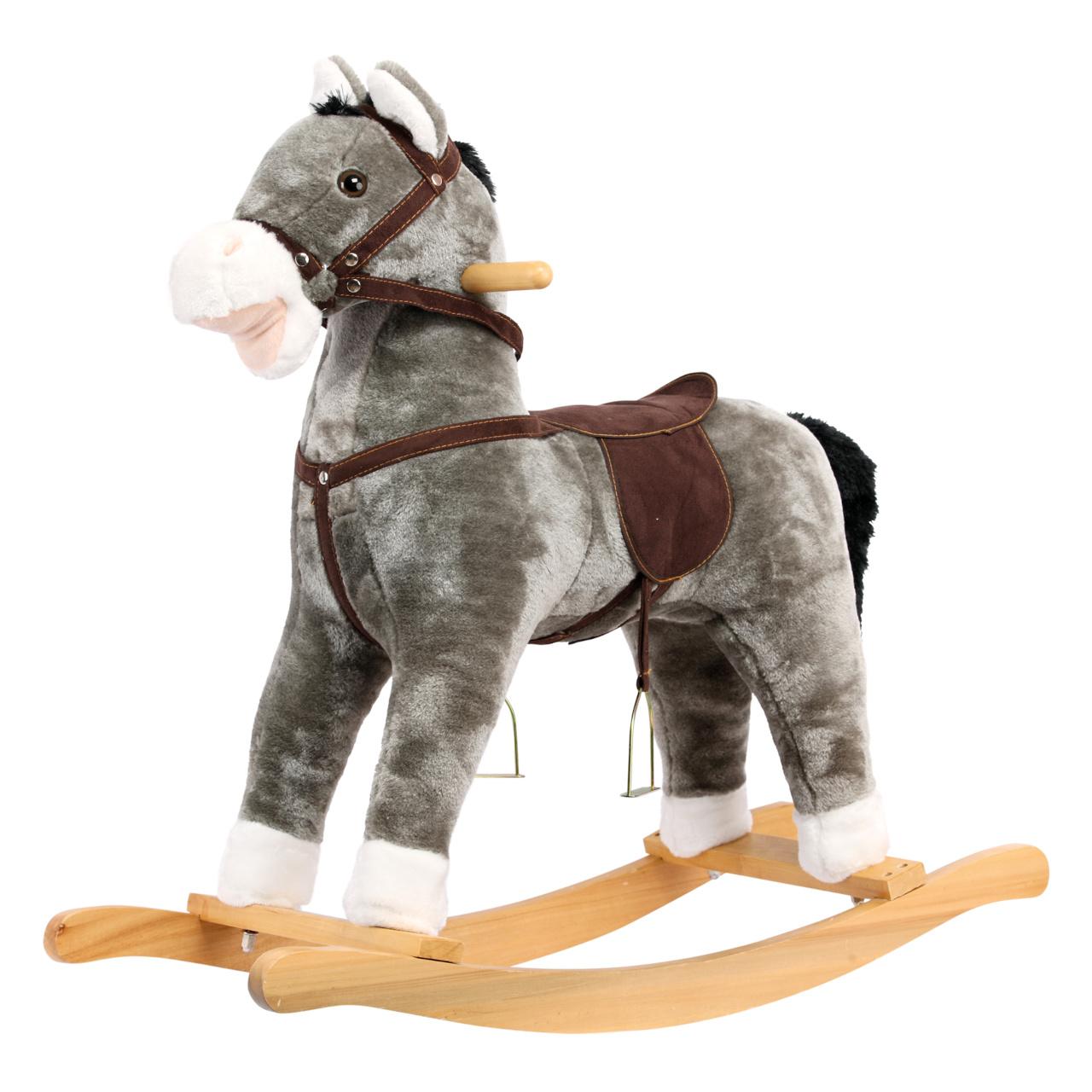Bino Plyšový houpací kůň šedý