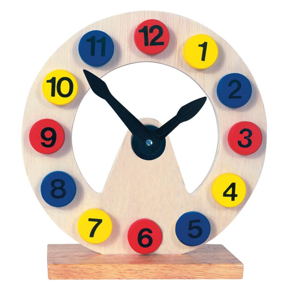 Bino Dřevěné dekorace hodiny na stojánku