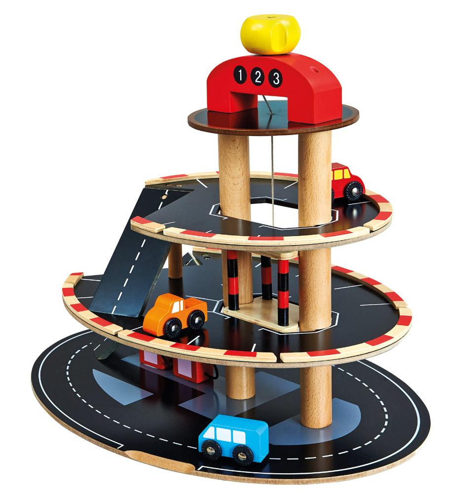 Bino - Parkoviště dřevěné s výtahem, 4 autíčka