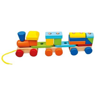 Bino Barevný vláček s 2 vagóny
