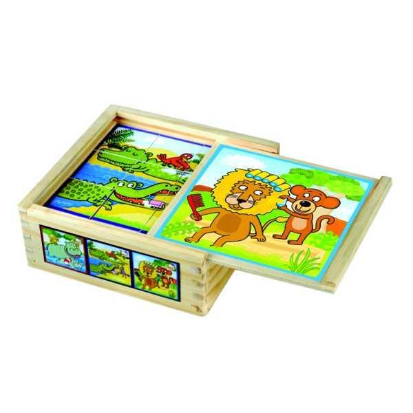 Dřevěné hračky - dřevěné obrázkové kostky , veselá zvířátka