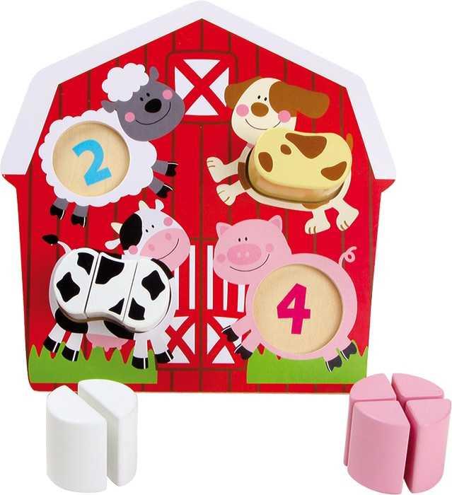 Dřevěná hračka - Puzzle Zvířata na farmě