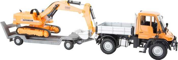 Small Foot Set stavebních aut Mercedes Benz s návěsem a bagrem