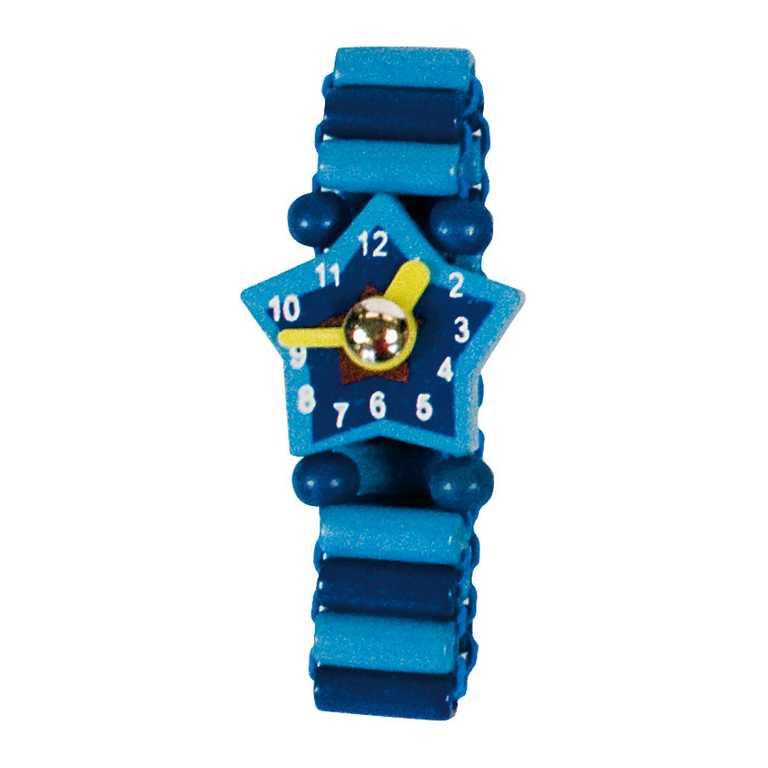Dřevěné hračky - Dřevěné hodinky modré