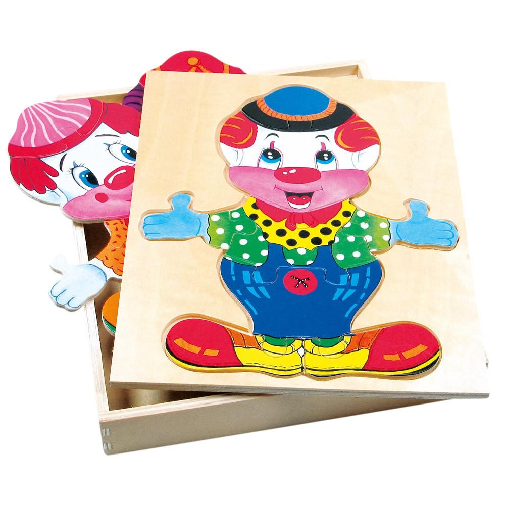 Bino Dřevěná šatní skříň velká - klaun