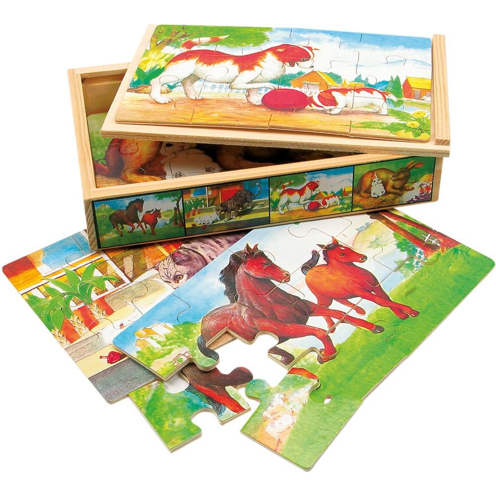 Fotografie Bino Dřevěné puzzle v krabičce zvířátka