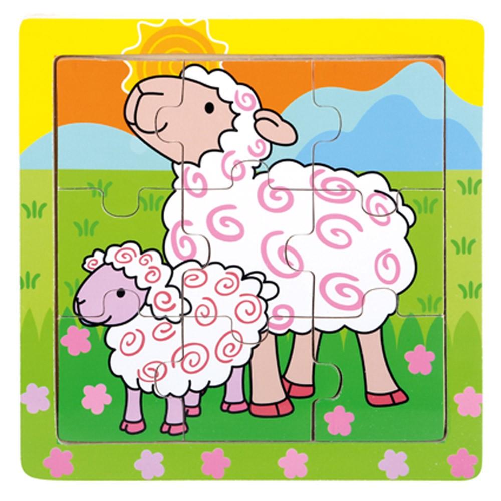 Bino Dřevěné puzzle ovečky