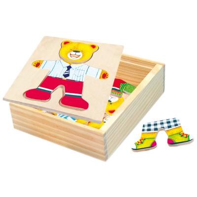 Bino - Puzzlev krabičce- šatní skříň- medvídek
