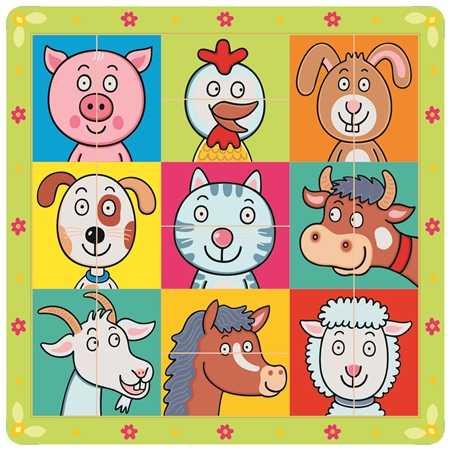 Bino Dřevěné hračky puzzle zvířecí hlavičky