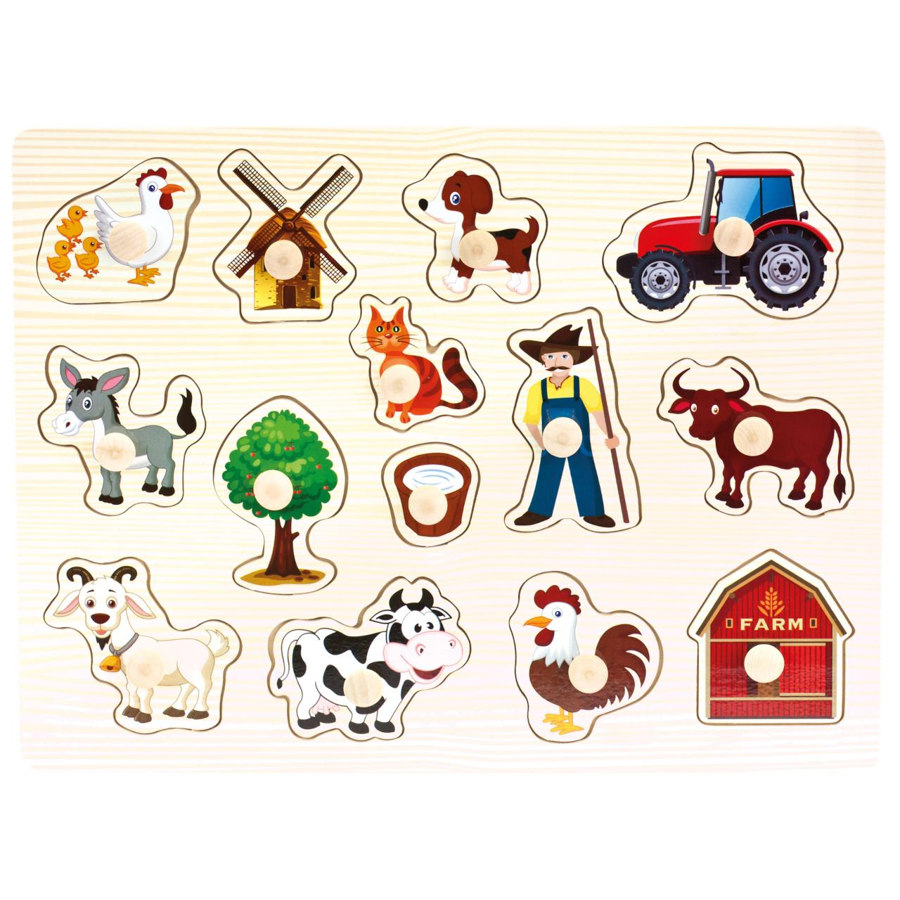 Bino Dřevěné puzzle farma 14 dílků