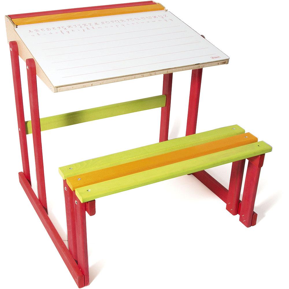 Jeujura Školní lavice s oboustrannou tabulí, barevná